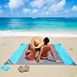 OUSPT Beach Blanket, Sand Free Picnic Outdoor Mat- Large 6.6' x 6.9' /6.6' x 8.2' - Pocket Zippered Portable Waterproof Soft Fast Drying Nylon Oversize Blanket for Travel Camping Hiking (Gray)