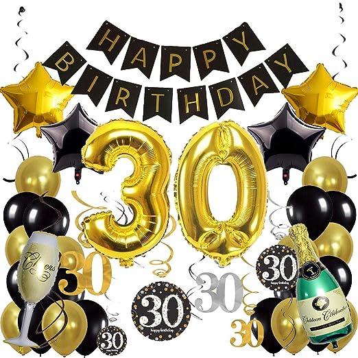 Juego de 30 globos para fiesta de 30 cumpleaños, color negro ...
