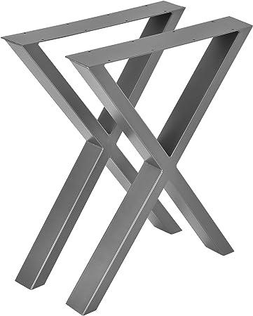 en.casa] Conjunto de Patas de Mesa - Set de 2X Patas de Mesa - Gris metálico - 59 x 72 cm - Patas para Mesa en Forma de X: Amazon.es: Hogar