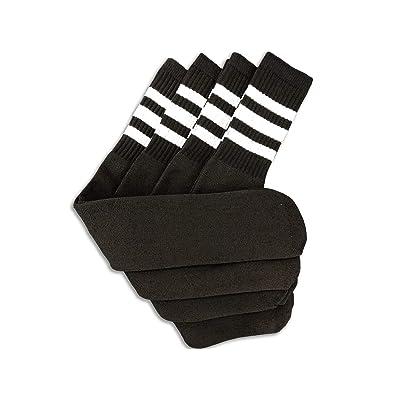 "Black Tube Socks with White Stripes 24"" Length - 4 Pairs at Men's Clothing store"