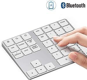 Bluetooth Number Pad, Lekvey Aluminum Rechargeable Wireless Numeric Keypad Slim 34-Keys External Numpad Keyboard Data Entry for Laptop, MacBook, MacBook Air/Pro, iMac, Windows, Surface Pro - Silver