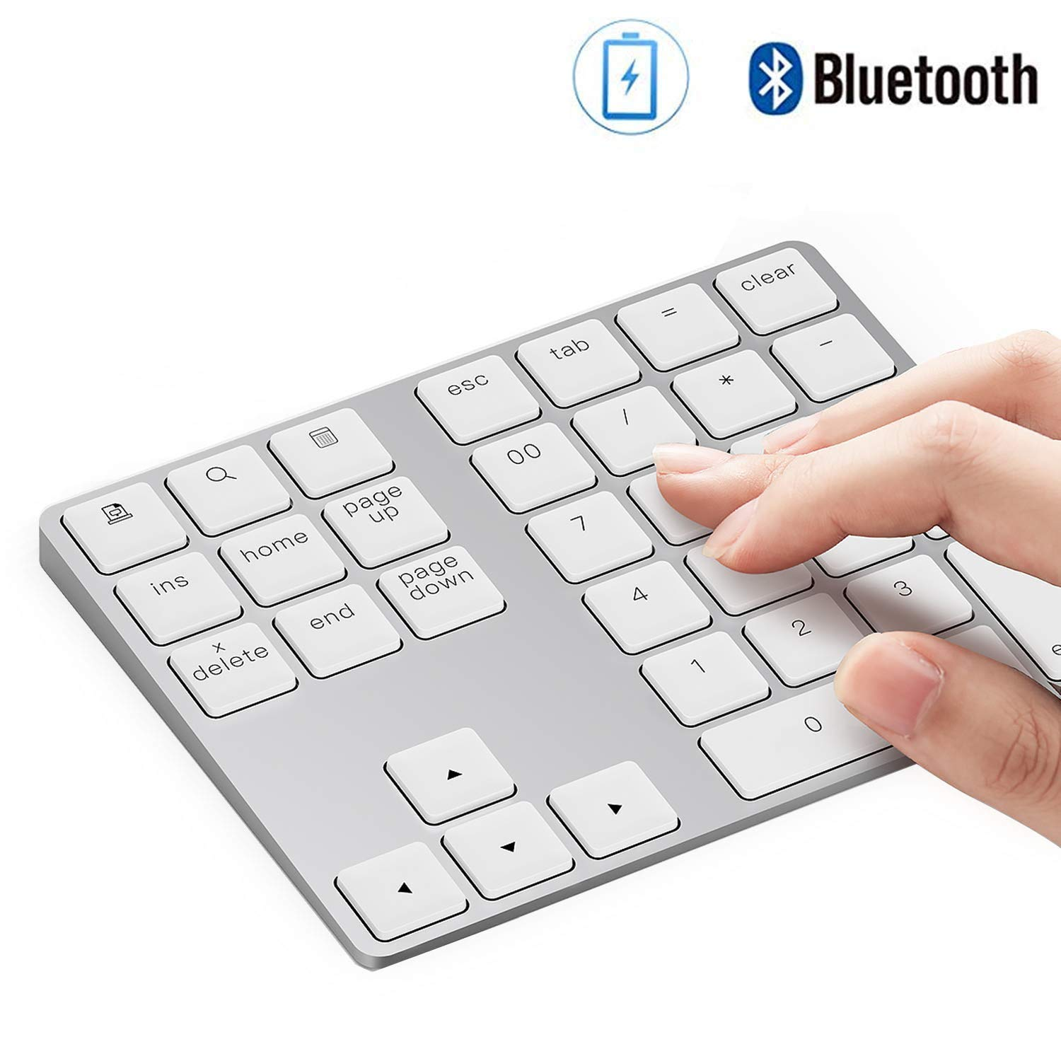 Bluetooth Number Pad, Lekvey Aluminum Rechargeable Wireless Numeric Keypad Slim 34-Keys External Numpad Keyboard Data Entry for Laptop, MacBook, MacBook Air/Pro, iMac, Windows, Surface Pro - Silver by LEKVEY