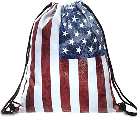 Us Flag Labor Day Cool Gym Drawstring Bags Travel Backpack Tote School Rucksack