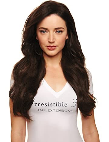 IRRESISTIBLE ME 1 piece Clip in Hair Extensions Medium Brown (Color #4) -