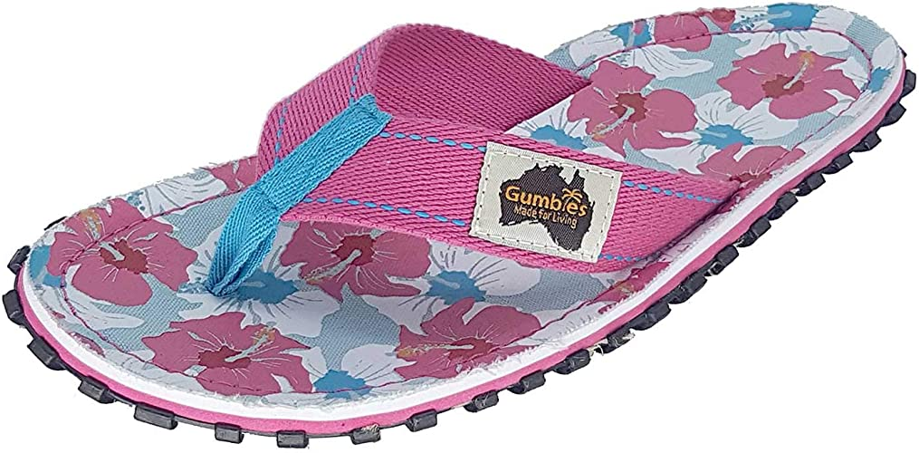 Gumbies Islander Womens Canvas Toe Post Flat Sandals Pink Hibiscus