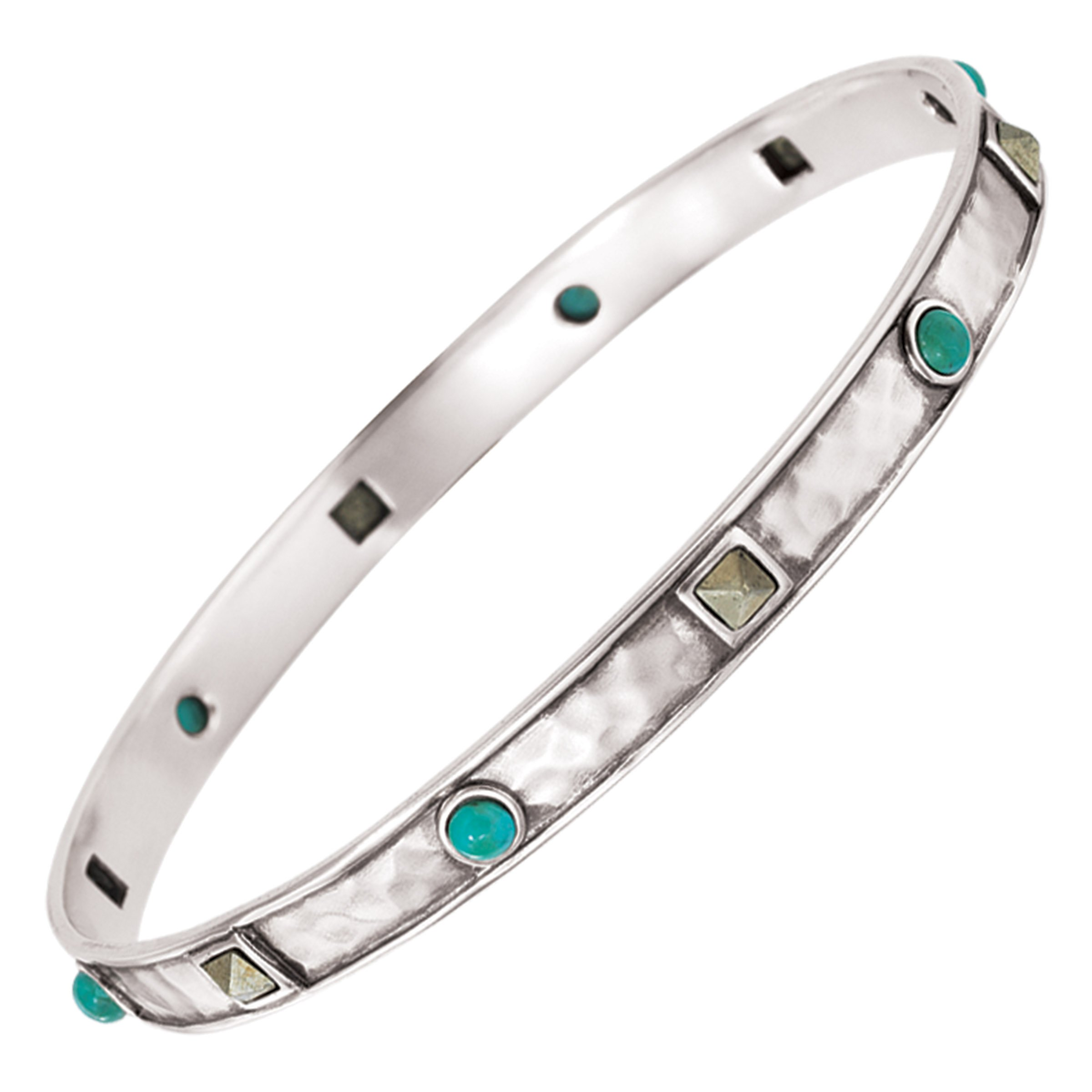 Silpada'sterling Silver Dotted Turquoise and Pyrite Bangle Bracelet, 6.75''