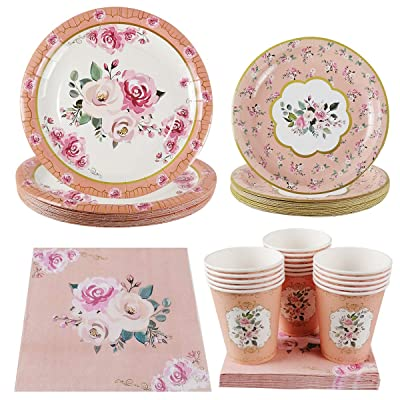 Vintage Floral Party Supplies Set - Serves 16 Guest Includes Party Plates, Spoons, Forks, Cups, Napkins Party Pack Perfect for Bridal Baby Shower Wedding Reception Garden Flower Birthday Tea Party Tableware: Toys & Games