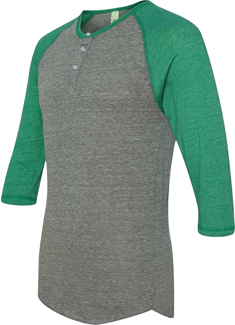 Alternative Men's Raglan Three-Quarter Sleeve Henley Shirt 01989E1