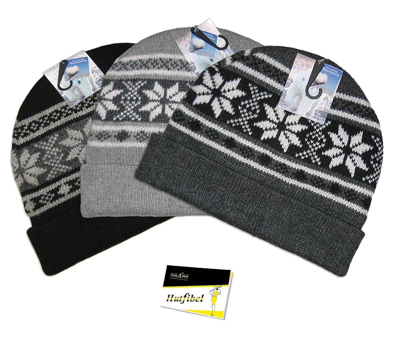 Wintermütze (Beanie) grob gestrickt mit Isolations-Fleece-Futter (FB.6.002-1) - inkl. EveryHead-Hutfibel