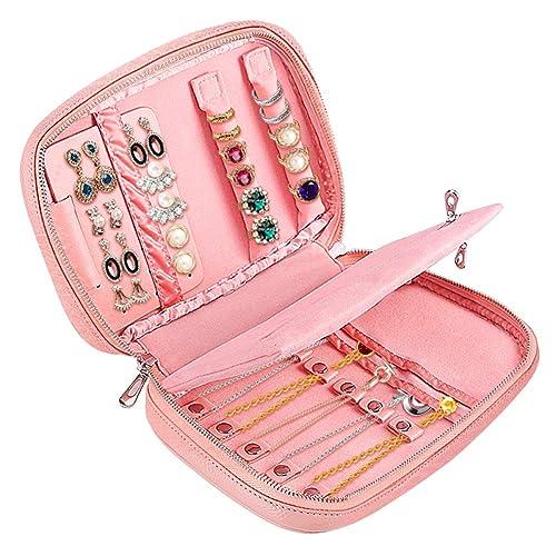 Cajas para joyas Bolsas para joyas de viaje portátiles de cuero genuino con bolsa de organizador de almacenamiento para pendientes, Collar, Anillos, ...