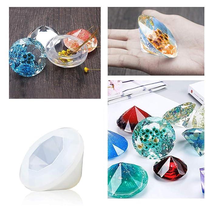 Molde de fundición de resina, paquete de 6 moldes de silicona transparente para manualidades, moldes de fundición para resina epoxi, esférico, cubico, ...