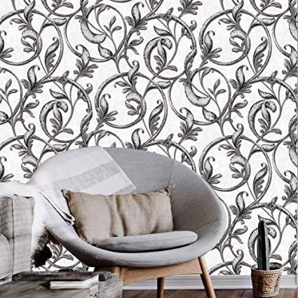 . A166 Luxury Damask Wallpaper Rolls Silver White Embossed Texture Victorian  Wall Paper Home Bedroom Living Room Hotels Wall Decoration 20 8 x 32 8ft