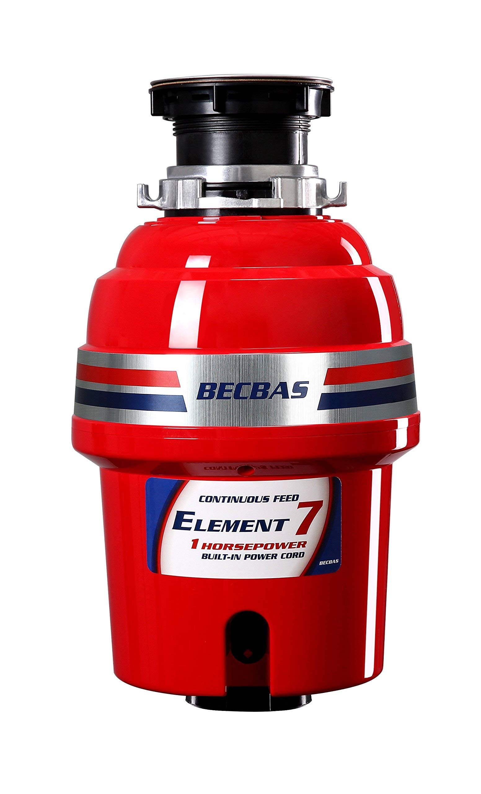 BECBAS ELEMENT 7 Garbage Disposal,1HP 2700RPM Household Food Waste Disposer, With Power Cord (Renewed)