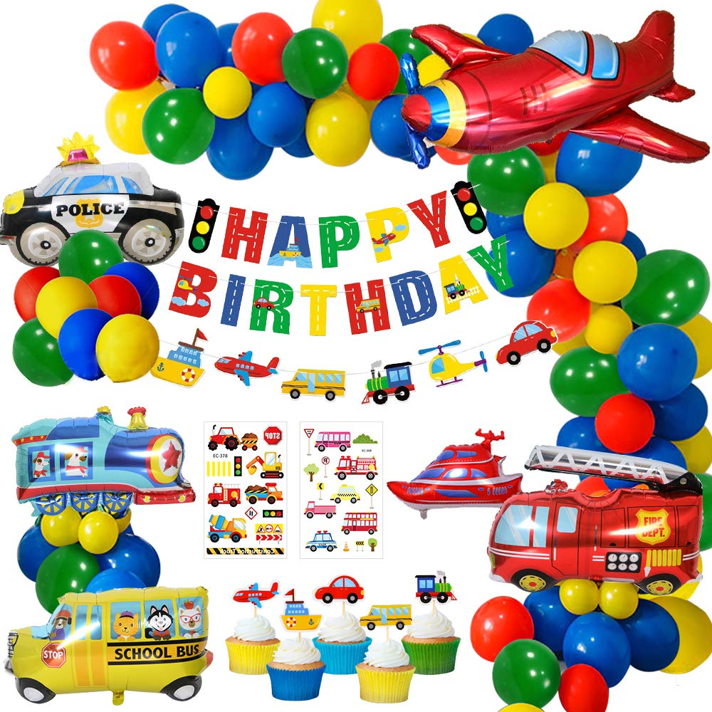 MMTX Birthday Party Decoration Boys, Happy Birthday Banner Transport Vehicles Foil Balloons Plane Train PoliceCar School Bus Yacht Fire Truck Cake Toppers for Boys Baby Shower, Boys 1st Birthday