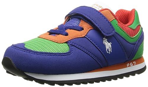 ad9c592150 RALPH LAUREN Polo Kids Slaton Ez II Sneaker, Azul Rey/Verde: Amazon ...
