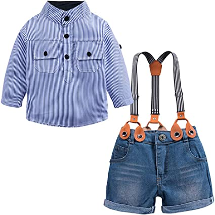 Baby Denim Dungarees With Orange Stripe Long Sleeve Top