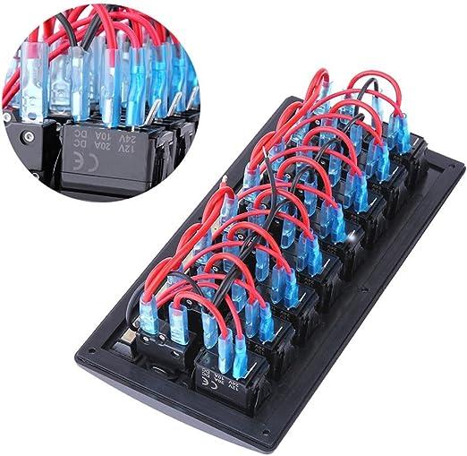 Nelnissa /étanche 8/Gang Switch Panel Voiture Bateau Marine LED Rouge Interrupteur /à bascule Panneau