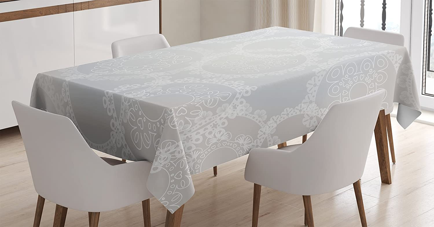 """Ambesonne Pearls Tablecloth, Circles Lace Doily Pattern Modern and Romantic Bridal Style Design Artwork Print, Rectangular Table Cover for Dining Room Kitchen Decor, 60"""" X 84"""", White Grey"""
