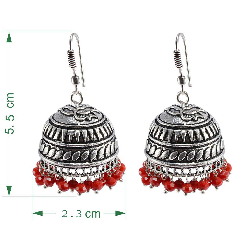 Silvesto India Seductive 23.1 Grams Handmade Alloy Oxidized 3 mm Red Crystals Jaipur Jhumki Jewellery PG-101080