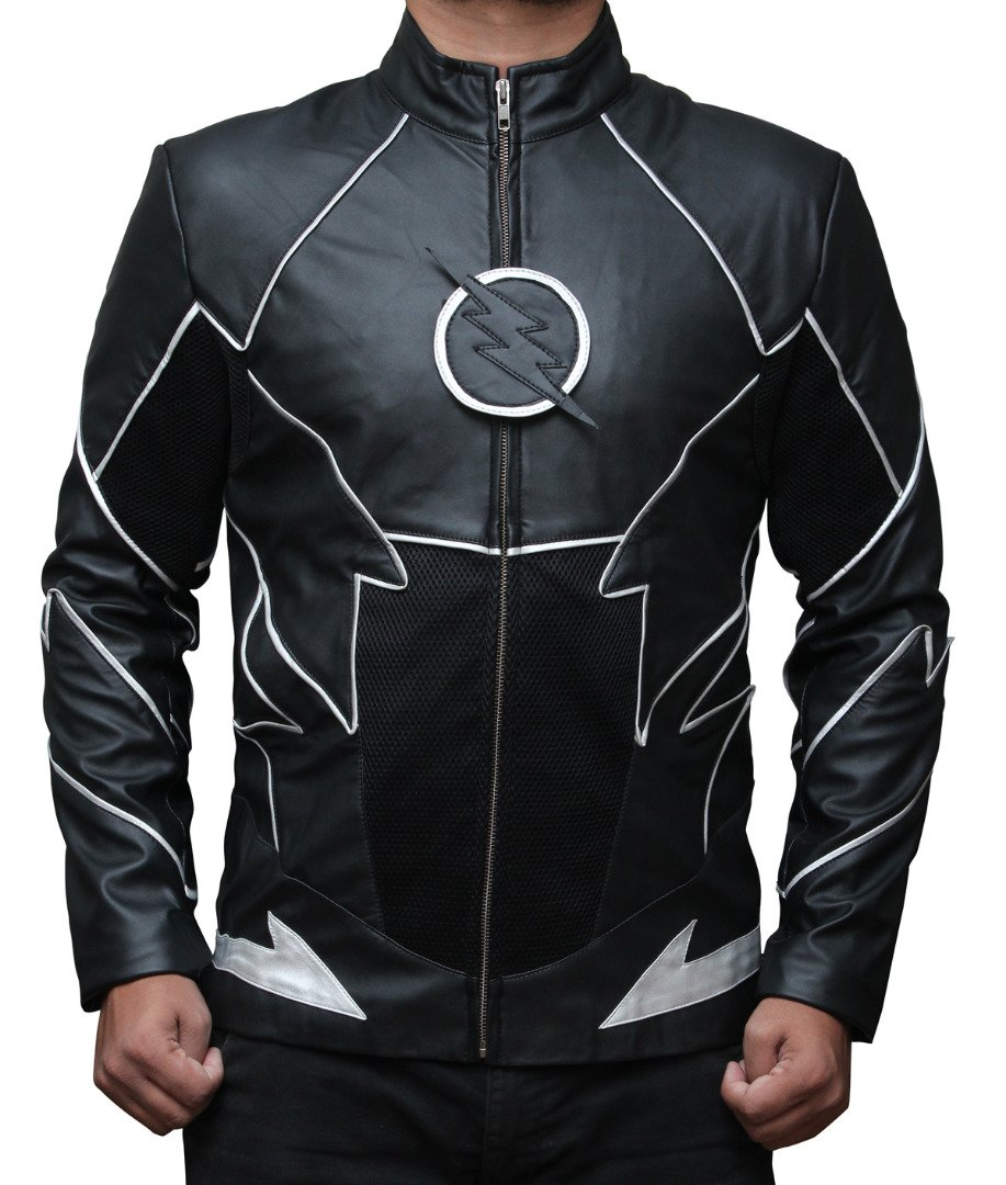 Decrum The Flash Zoom Men's Black Leather Jacket M