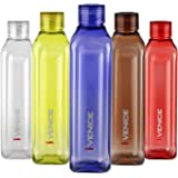 Cello Venice Exclusive Edition Plastic Water Bottle Set, 1 Litre, Set of 5, Multicolor