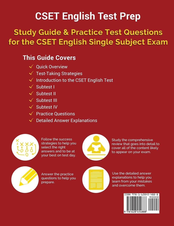 CSET English Test Prep: Study Guide & Practice Test Questions for the CSET  English Single Subject Exam: Amazon.co.uk: CSET English Study Book Prep  Team: ...