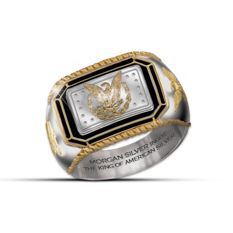Men's Ring: The Morgan Silver Ingot Ring by The Bradford Exchange: 9
