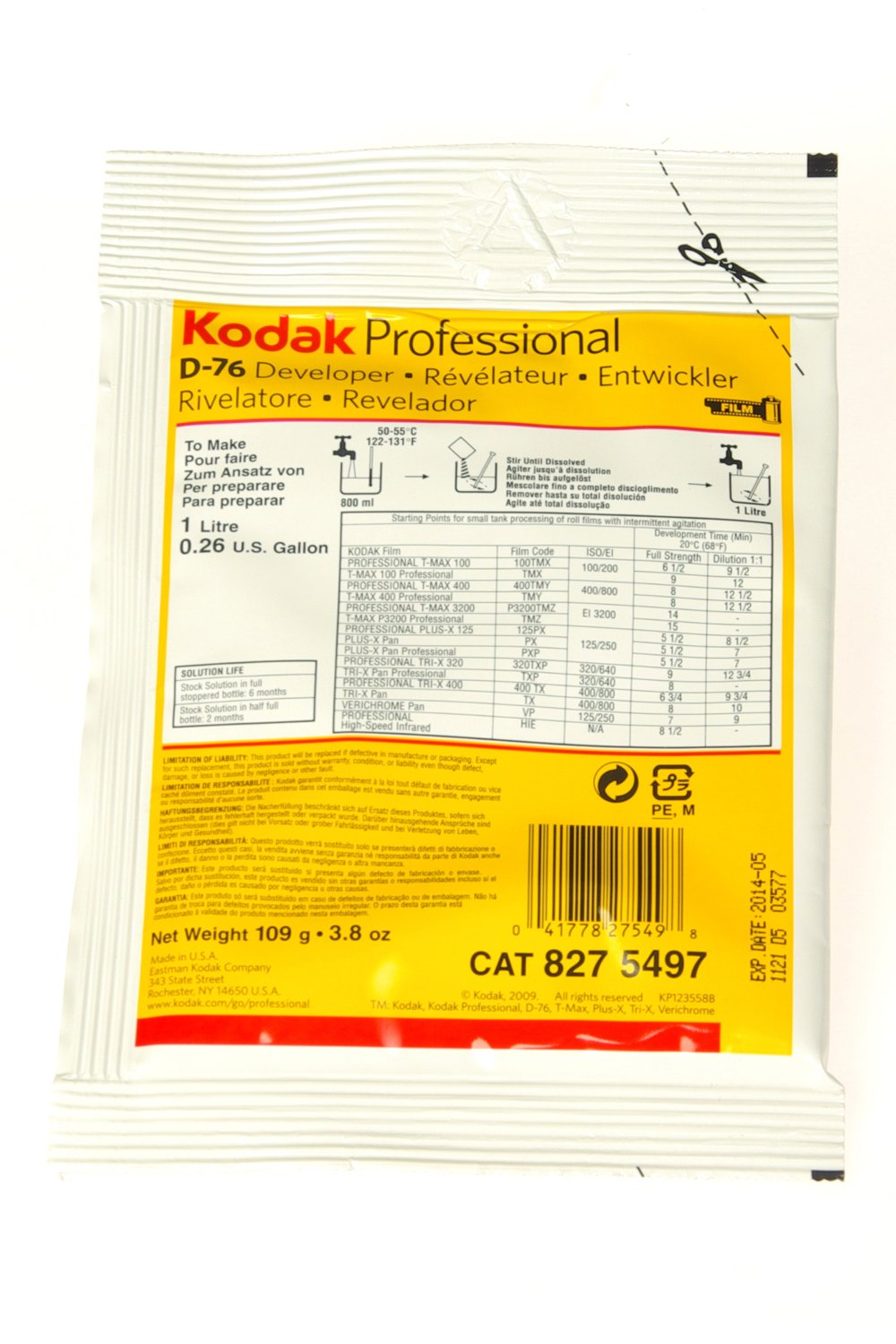 Kodak D76 Black and White Film Developing Powder to Make 1 Liter 8275497