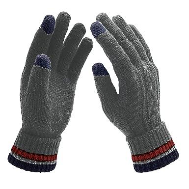 UPhitnis Winter Gestrickte Touchscreen Handschuhe für Herren Damen ...