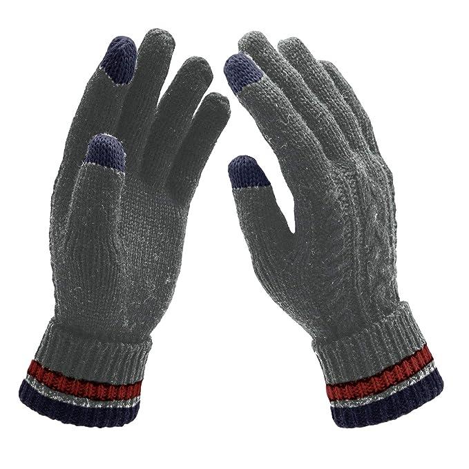 959fd7c3e73825 UPhitnis Winter Gestrickte Touchscreen Handschuhe für Herren Damen, Warme  Wolle Rutschfest Stricken Handschuhe Motorrad Fahrrad