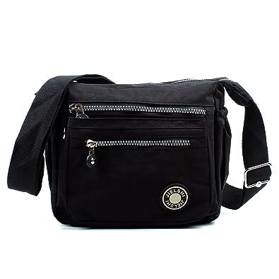 Aossta Womens Multi Zip Pockets Fabric Lightweight Cross Body Bag Shoulder  Bag Messenger Bag (3206