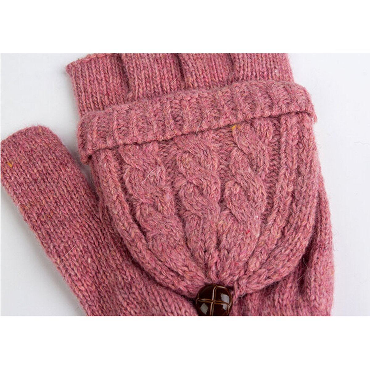 Brown ROSENICE Guanti senza dita donne calda lana maglia guanti con guanto Cover