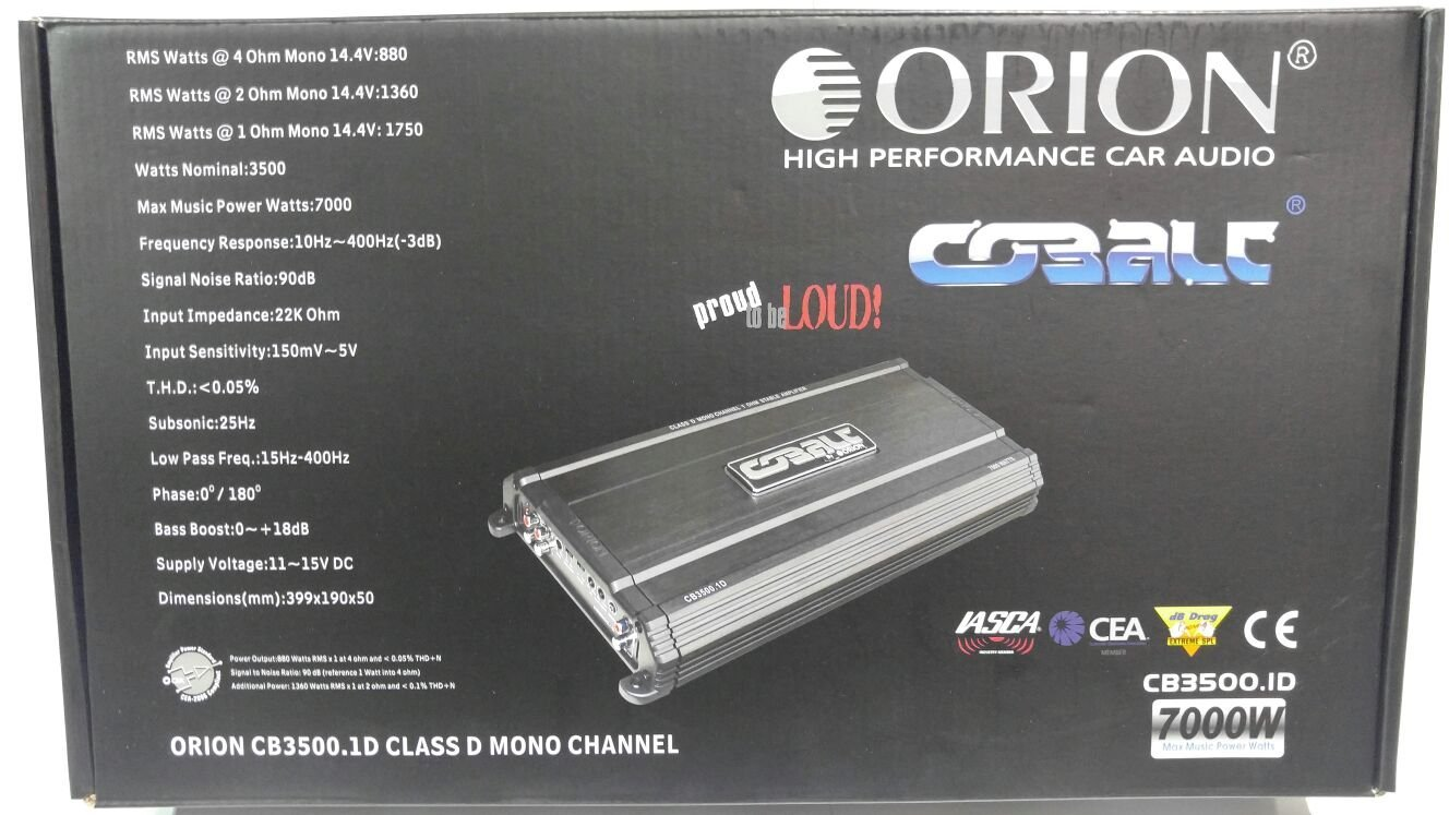 Orion CB3500.1D Cobalt Series Monoblock Class D 1-Ohm Amplifier, Black