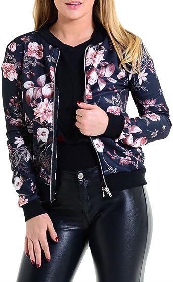 TALLA M Largo. Islander Fashions Mujer con Estampado Floral Bomber Jacket Ladies Manga Larga con Cremallera Biker Chaqueta Blazer S/M, M/L