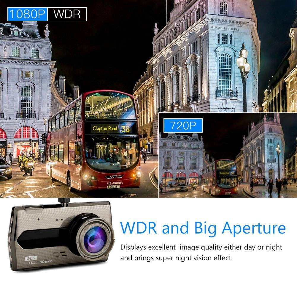 WDR black 1080P Full HD Car DVR Dashboard Camera Loop RecordingDash Cam MILEXING 1080P Fron Dash Cam Motion Detection G-Sensor Driving Recorder with 4 Inch LCD Screen 170 Degree Wide Angle