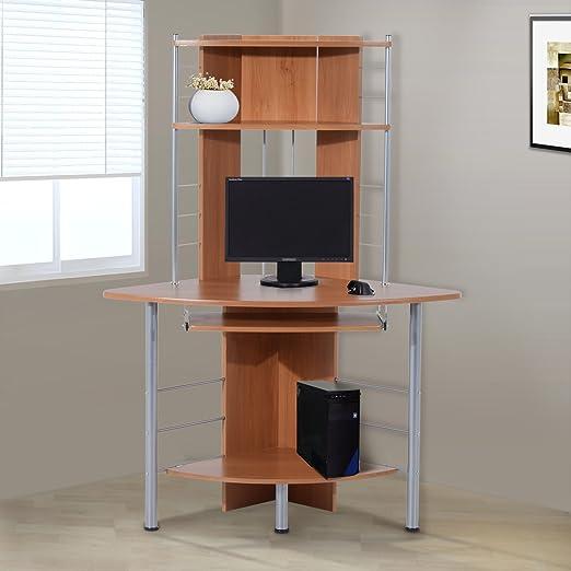 HOMCOM Mesa de Ordenador PC Escritorio Despacho 113x65x158cm ...