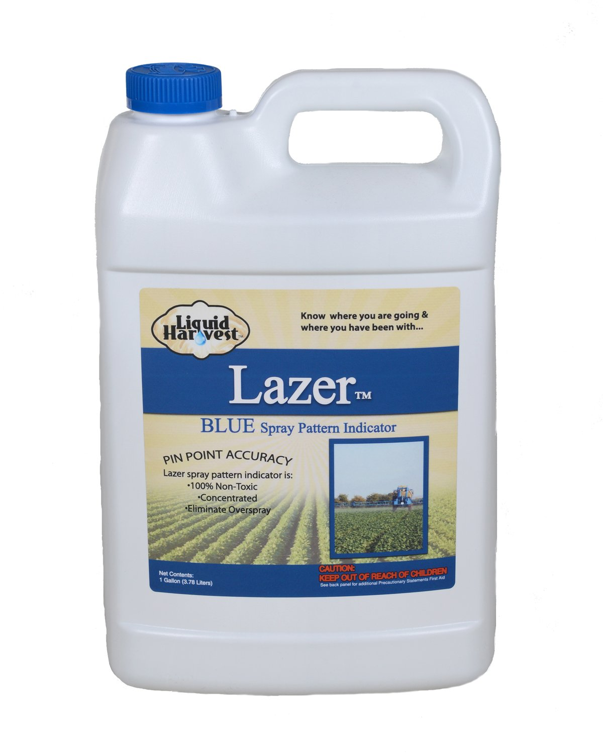 Liquid Harvest Lazer Blue Concentrated Spray Pattern Indicator - 1 Gallon (128 Ounces) - Perfect Weed Spray Dye, Herbicide Dye, Fertilizer Marking Dye, Turf Mark and Blue Herbicide Marker by Sanco Industries