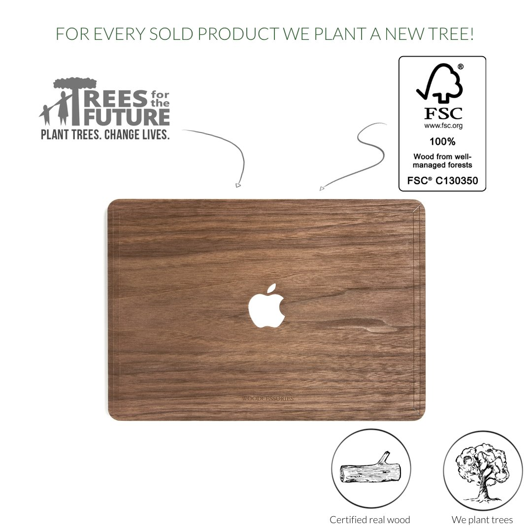 Woodcessories - Skin Compatible with MacBook 15 Pro Retina of Real Wood, EcoSkin (Walnut) by Woodcessories (Image #4)