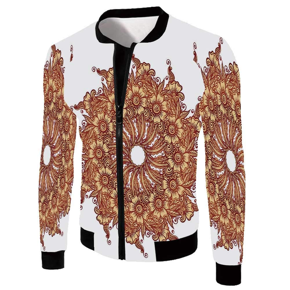 Henna Stylish Jackets,Eastern Civilization Inspired Floral Tattoo Design Mehndi Motif Illustration Decorative for Men,XL