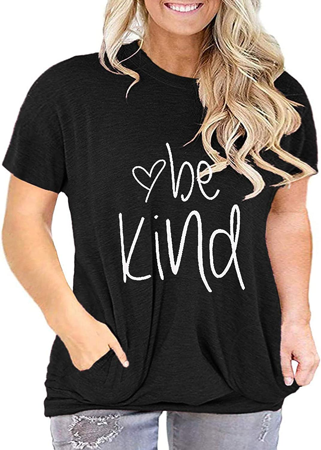 Plus Size Be Kind Tshirts Womens Graphic Tees Teacher Shirts Tunic Tops with Pockets