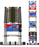 EuroLadderSystems Pro Telescopic Ladder, 3.8 Meter (13 ft) , Stores at 3.5 ft , 10x Sand Blasted Aluminium Red Que Safe Step Stabilizer and Wheel Kit Worlds Best Telescopic Ladder, Silver with Black