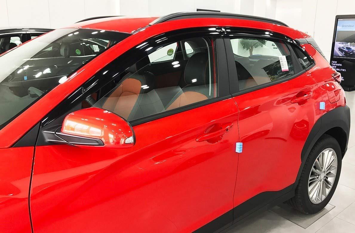 Autoclover Hyundai Kona 2017 + Dé flecteurs d'air Lot de (6 piè ces) (Fumé )