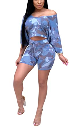 58f7e489e67d2e Womens Summer Two Pieces Outfits Long Sleeve Bodycon Off Shoulder  Camouflage Crop Top Shirts Pants Bandage