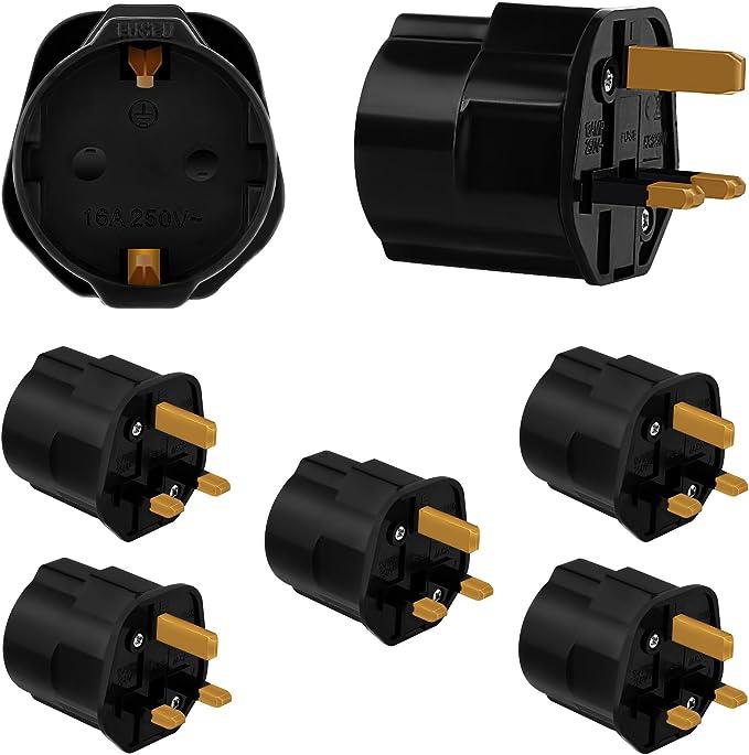 Incutex 5X adaptadores de Viaje UK, GB, Inglaterra Schuko, 2 Patas Europa hacia 3 Patas RU, Negro: Amazon.es: Electrónica
