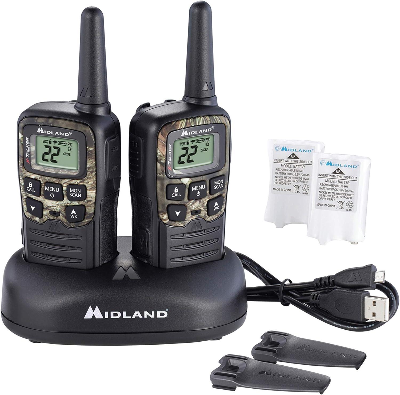 Midland - X-TALKER T55VP3, 22 Channel FRS Walkie Talkie - Long Range Two-Way Radio, 38 Privacy Codes, NOAA Weather Alert (Pair Pack) (Black w/Mossy Oak Camo)