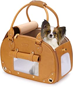 PetsHome Dog Carrier, Pet Carrier, Cat Carrier, Foldable Waterproof Premium PU Leather Pet Purse Portable Bag Carrier for Cat and Small Dog Home & Outdoor