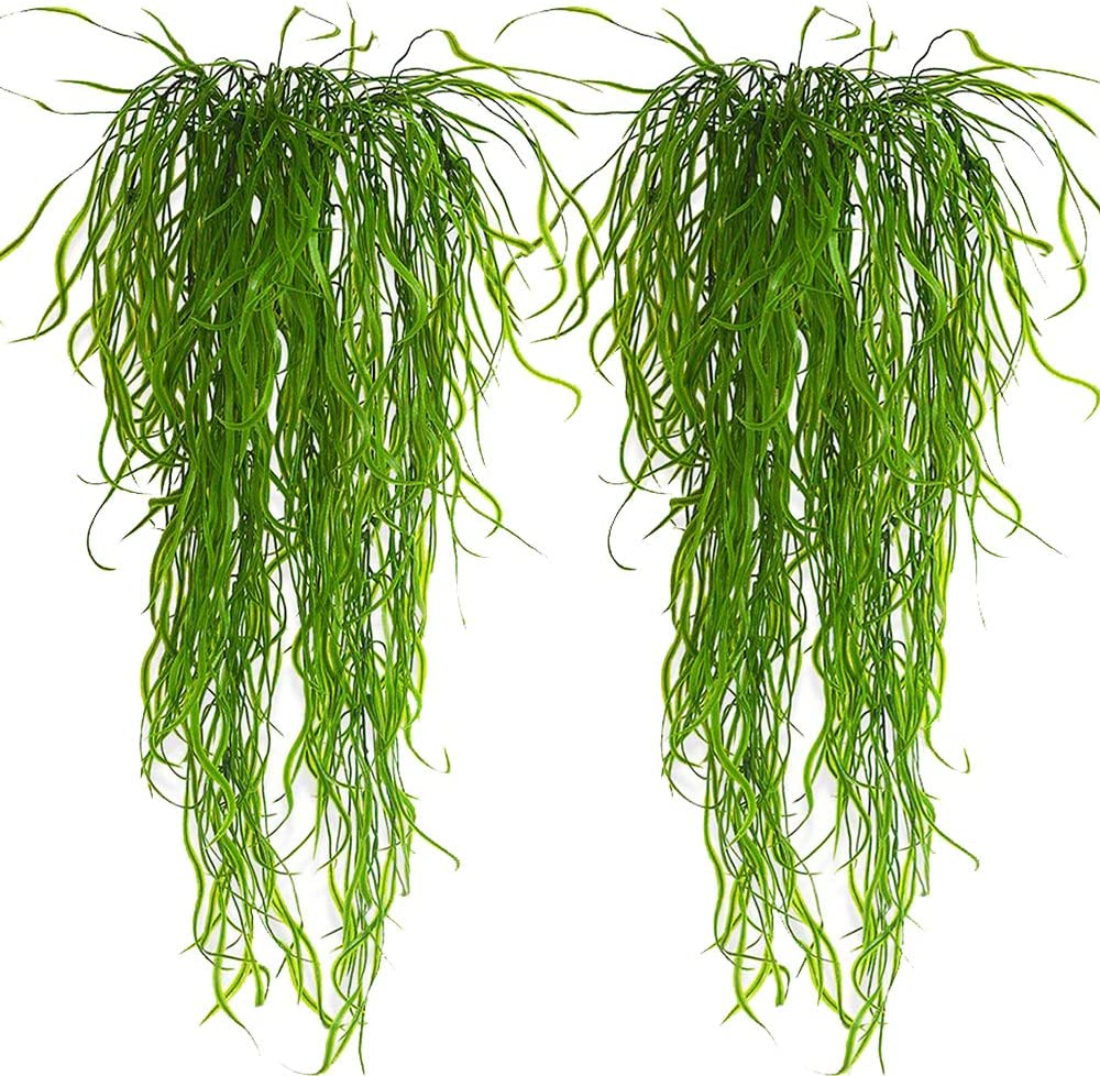 Artificial Plants Vines Fern Willow Wicker Twig Fake Hanging Plant Faux Curly Seaweed Ferns Flowers Vine Outdoor UV Resistant Plastic Plants for Wall Indoor Hanging Baskets Wedding Garland Decor-2pcs