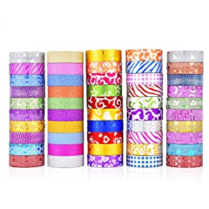 Glitter Washi Tape Set, Washi Masking Decorative Tapes for DIY and Gift Wrapping Decor Planners Scrapbooking Adhesive School/Party Supplies, 50 Rolls Colorful Decorative Adhesive Tape