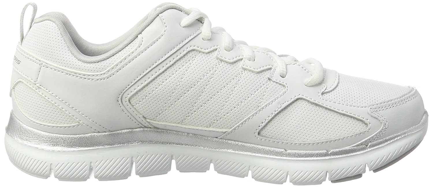 Flex Appeal 2.0-Good Time, Formatori Donna, Bianco (White/Silver), 38.5 EU Skechers