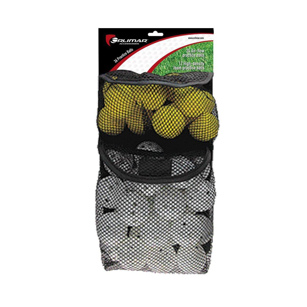 Orlimar Golf 36 Practice Balls (24 with Holes, 12 Foam)